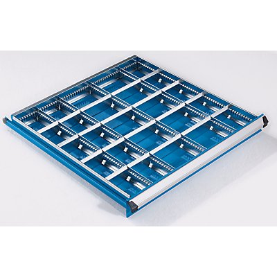 Schubladeneinteilungs-Set - 3 Längs- und 20 Querteiler, für Schubladenhöhe 100 mm