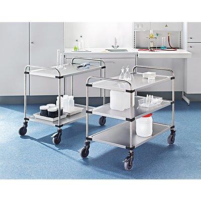 Edelstahl-Tischwagen VARITHEK SERVO+ - 2 Etagen, Ladefläche 1000 x 600 mm - Tragfähigkeit 120 kg