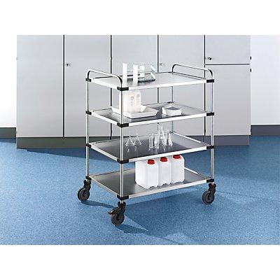 Edelstahl-Tischwagen VARITHEK SERVO+ - 4 Etagen, Ladefläche 1000 x 600 mm - Tragfähigkeit 160 kg