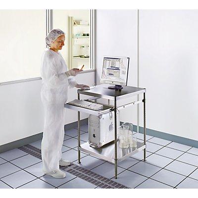 Reinraum-PC-Arbeitstisch - aus Edelstahl, Ablageboden und Tastaturauszug - HxBxT 870 x 610 x 610 mm