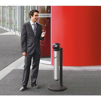 Rubbermaid Cendrier sur pied, en inox, capacité 4,9 l - hauteur 1000 mm, Ø 400 mm - argent / noir
