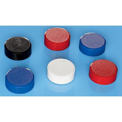 Maul Kraftmagnete, VE 60 Stk - Ø 34 mm, Haftkraft 2 kg - farbig sortiert, weiß, rot, blau, schwarz