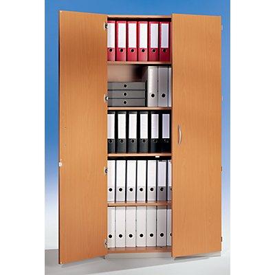 office akktiv Flügeltürenschrank - HxBxT 1864 x 913 x 440 mm, 4 Fachböden - lichtgrau RAL 7035 mit Doppelflügeltür