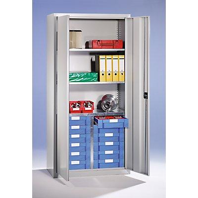 EUROKRAFT Material- und Schubladenschrank - 3 Fachböden, 12 Schubladen