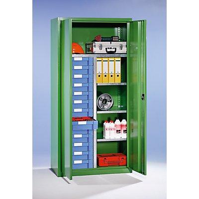 EUROKRAFT Material- und Schubladenschrank - 4 Fachböden, 13 Schubladen