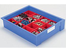 Einsatzkasten für Schublade - LxBxH 53 x 40 x 54 mm, VE 64 Stk - blau