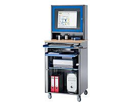 RAU Computer-Arbeitsplatz - HxBxT 1820 x 720 x 660 mm, mit Monitorgehäuse