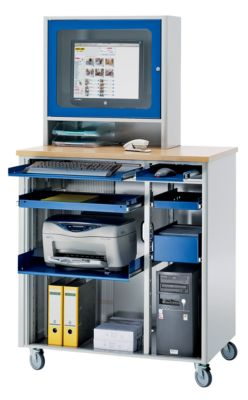 RAU Computer-Arbeitsplatz - HxBxT 1820 x 1030 x 660 mm, mit Monitorgehäuse