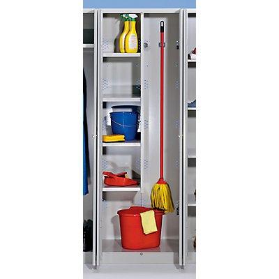 Wolf Stahlschrank - Breite 600 mm, 4 Böden, 1 Geräteabteil - Türen lichtgrau
