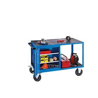EUROKRAFT Montagewagen, Tragfähigkeit 500 kg - 1 Schrank links, Arbeitsfläche aus Kunststoff - lichtblau RAL 5012