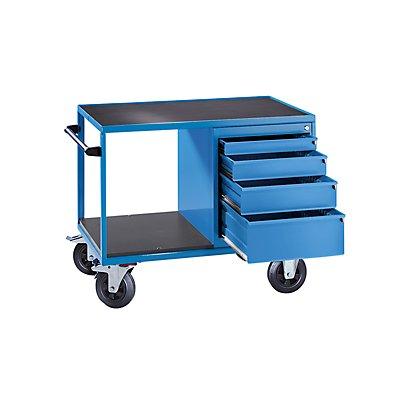 EUROKRAFT Montagewagen, Tragfähigkeit 500 kg - 4 Schubladen, lichtblau RAL 5012