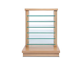 Étagère en bois NATURA - avec tablettes en verre