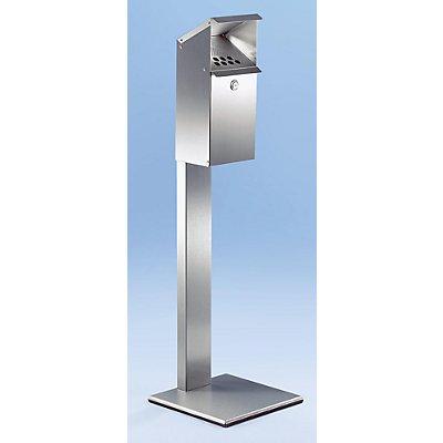 Standaschenbecher für Außen und Innen - aus Edelstahl, abschließbar - HxBxT 1090 x 320 x 320 mm