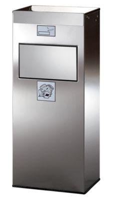Kombi-Standascher aus Edelstahl - mit selbstschließender Einwurfklappe - HxBxT 770 x 320 x 210 mm