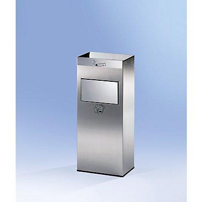 Combiné sur pied cendrier-poubelle en inox - avec trappe à fermeture automatique - h x l x p 770 x 320 x 210 mm