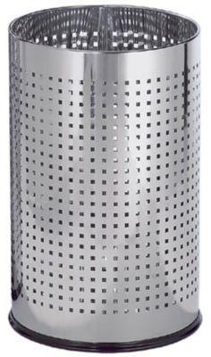 Papierkorb, Edelstahl hochglanzpoliert, mit Karolochung - Ø 240 mm - Höhe 390 mm