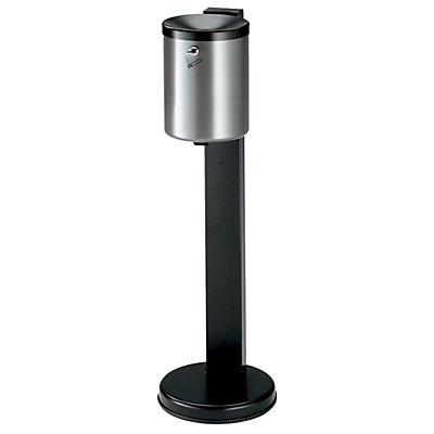 Cendrier de sécurité sur pied, capacité 6 l - tôle d'acier peinte époxy, hauteur 825 mm, Ø 250 mm, avec serrure à cylindre