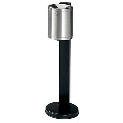 Cendrier de sécurité sur pied, capacité 6 l - inox, hauteur 825 mm, Ø 250 mm, avec serrure à cylindre - inoxydable