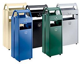 Collecteur de déchets avec cendrier et toit de protection - capacité poubelle 35 l, capacité cendrier 5 l