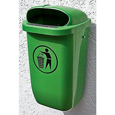 Abfallbehälter für öffentlichen Raum - nach DIN 30713, inkl. Halterung für Wand- oder Bodenmontage - orange