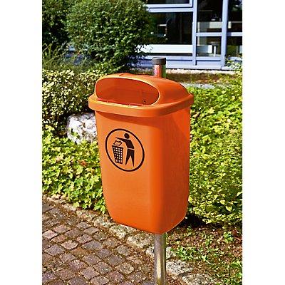 Kit corbeille à papier 50 l conforme à la norme DIN 30713 - avec potelets en tube d'acier et colliers - bac orange