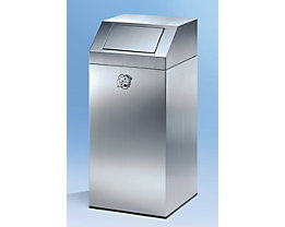 Abfallsammler aus Edelstahl, für innen und aussen - mit 45 Liter Volumen, Höhe 790 mm