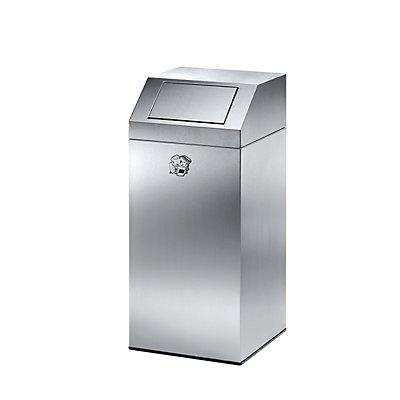 Abfallsammler aus Edelstahl, für innen und außen - mit 45 Liter Volumen, Höhe 790 mm - mit Edelstahl-Innenbehälter