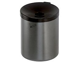 Sicherheits-Wandascher, 6 l Fassungsvermögen - Höhe 250 mm, Ø 180 mm, mit Zylinderschloss - Stahlblech pulverbeschichtet, neusilber