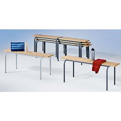 Garderobenbank, stapelbar - Massivholzleisten klarlackiert, Länge 1200 mm