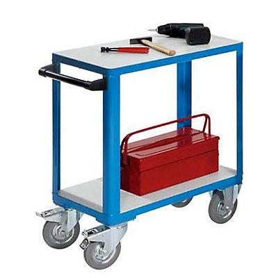 EUROKRAFT Industrie-Tischwagen - Ladefläche LxB 750 x 400 mm - lichtblau RAL 5012