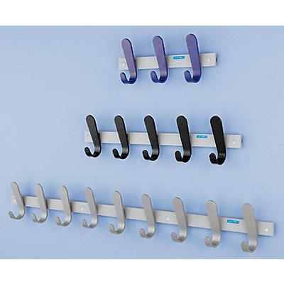 office akktiv Garderobenleiste - 5 Mantelhaken, HxBxT 130 x 600 x 60 mm, VE 2 Stück