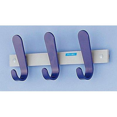 office akktiv Garderobenleiste - 3 Mantelhaken, HxBxT 130 x 360 x 60 mm, VE 2 Stück