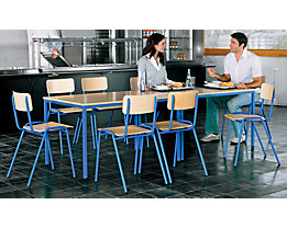 Mehrzweck-Sitzgruppe - 1 Tisch, 4 Stühle - Tischplatte Buche-Dekor, Gestell basaltgrau