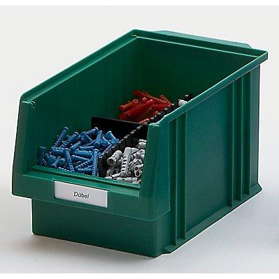 Etiketten für Sichtlagerkasten - weiß, VE 100 Stk - für Sichtlagerkastenbreite 102 mm