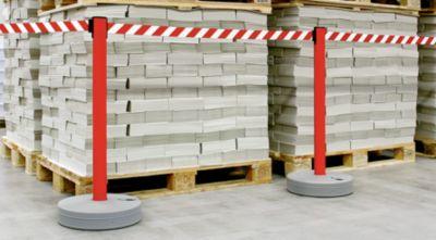 Gurtabsperrpfosten, VE 2 Stk - Gewebeband ausziehbar, 4-Wege-System - Pfosten weiß, Gurt rot / weiß