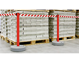 Gurtabsperrpfosten, VE 2 Stk - Gewebeband ausziehbar, 4-Wege-System