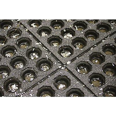 Arbeitsplatzbodenbelag, schwarz - Ausführung gelocht - Höhe 19 mm