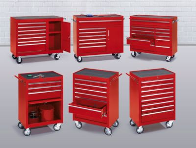 Werkstattwagen - HxBxT 923 x 1060 x 480 mm, 7 Schubladen, 1 Flügeltür - rot