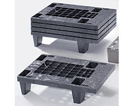 Mini-palette en plastique - L x l 600 x 400 mm, charge max. statique 500 kg