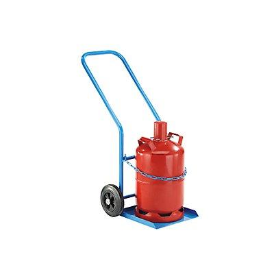 EUROKRAFT Stahl- / Gasflaschenkarre - für 1 Propangasflasche, Inhalt 27 / 40 l - Vollgummireifen
