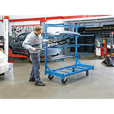 EUROKRAFT Tragarm-Regalwagen - Tragfähigkeit 350 kg, Grundmodell ohne Tragarme