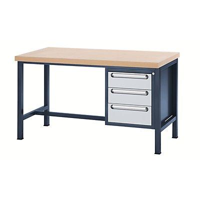 RAU Werkbank mit MDF-Platte - 3 Schubladen, 2 x 150, 1 x 180 mm hoch