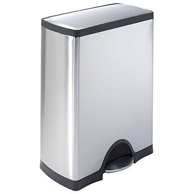 Edelstahl-Pedalabfallsammler - Modell SQUARE - Volumen 50 l, inkl. Kunststoff-Innenbehälter