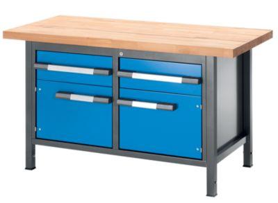 EUROKRAFT Werkbank, höhenverstellbar, mit Buchemassivplatte - 2 Schubladen, 2 Türen