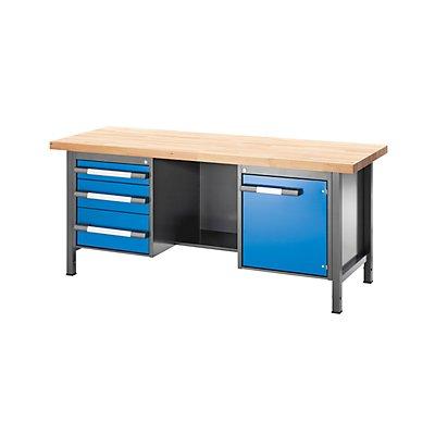 EUROKRAFT Werkbank, höhenverstellbar, mit Buchemassivplatte - 3 Schubladen, 1 Tür, 1 Ablageboden