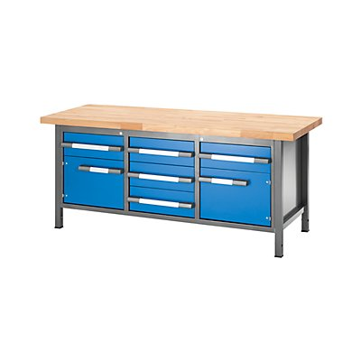 EUROKRAFT – Werkbank, höhenverstellbar, mit Buchemassivplatte - 5 Schubladen, 2 Flügeltüren - Breite 2000 mm, anthrazit / blau