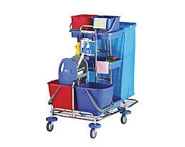 Reinigungswagen - LxBxH 1200 x 600 x 1050 mm, 3 Kunststoffschalen