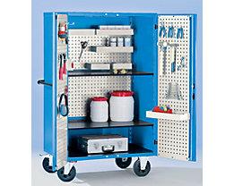 EUROKRAFT Armoire roulante, L x l x h 1150 x 740 x 1785 mm - peinture époxy bleu clair RAL 5012