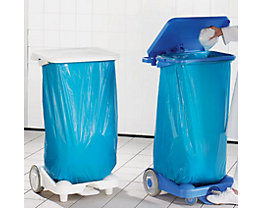 Support pour sacs-poubelle en plastique, à pédale - mobile sur 2 roulettes fixes, 2 pieds