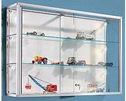 Wandvitrine - mit Aluminiumrahmen und 2 Glasfachböden